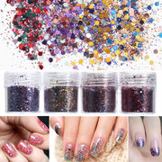 4 POTI Nail Art Glitter Polvere Sequins Sparkly Colorful Natale Iridescent Acrylic Tips