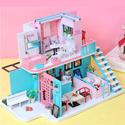 Handmade 3D Wooden Miniatures Doll HouseDollhouse Furniture Diy Miniature Toys for Girls Birthday Gifts