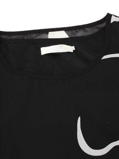 O-NEWE blusa solta de chiffon de Verão blusa impressa de hem irregular para mulheres