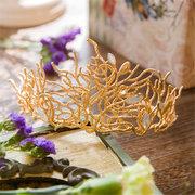 Noiva de Ouro Strass Cristal Coral Forma Crown Princess Rainha Tiara Festa de Casamento Prom Headpiece