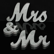28CM MR&MRS Silver Shining Bling Wooden Letters Sign Table Decoration Wedding Favor Gift Accessories
