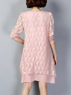 Elegant Women Long Sleeve Lace Hollow Pure Color Mini Dress