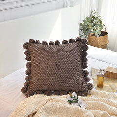 Ins Solid Knitted Pillow Case Cushions Cover Simple Nordic Style Hanging Ball Soft Decoration