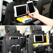 Leather Car Seat Back Foldable Food Table Storage Bag Multi-functional Phone Organizer with USB Charging Port