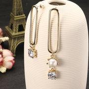 JASSY® Kreative asymmetrische Clip Form Ohr Drop Gold Silber Glänzende Zirkon Künstliche Perle Ohrringe
