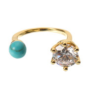 JASSY® Women Bohemian Turquoise Open Ring Simple 18K Gold Plated Gemstone Ring Anallergic Gift
