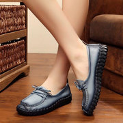 Socofy Stitching Color Blocking Casual Soft Leather Retro Comfy Flat Loafers