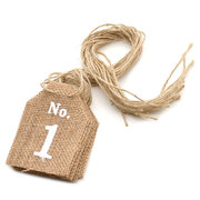 1-10 Hessian Jute Burlap Banner Table Signs Wedding Table Numbers Decoration