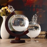 DecBest Sfera di Vetro a Previsione del Tempo con Basamento di Legno Decorazione e Ornamento a Vetro Cristallo e Diamante a Casa