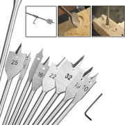 10pcs Wood Flat Drill Bit Set 6-32mm with 12 Inch Extension Shank and Hex Wrench for Woodworking