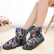 Colorful Letter Pattern Warm Faux Fur Lining Ankle Snow Boots