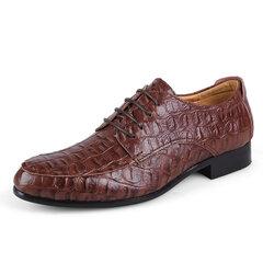 Chaussures habillées de business en cuir à lacets à bout pointu pour homme