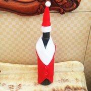 Christmas Red Wine Bottle Cover mit Hut Weihnachtsmann Button Decor Dekoration für Dinner-Party
