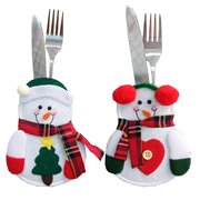 Christmas Tableware Knife Fork Holders Santa Clothes Style Fork Bags Cover Suit