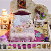 Amsterdam Village Cottage DIY Dollhouse With Furniture Light Cover Gift House Toys