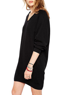 Casual Solid V Neck Long Sleeve Pullover Dress