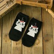 Chaussettes de dessin animé de coton mignon de femmes chaussettes d'antenne de Catwoman de barre de sucrerie