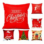 Hot Christmas Decorations For Home Reindeer Jute Pillow Cover Case Merry Christmas Square Linen