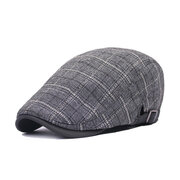 Men Women Plaid Cotton Beret Cap Peaked Cap Retro Forward Hat
