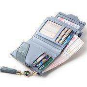 Multi-Slots Tassel Натуральная Кожа Короткий кошелек для кредитных карт Кошелек Для Женское