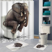 Cortina de chuveiro impermeável do banheiro do elefante 180x180CM 12 ganchos