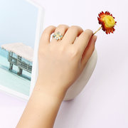 JASSY® Gold Plated Open End Flower Ring Gemstone Four-Leaf Flower Lucky Ring Exquisite Gift