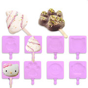 DIY Silikon Backen Kuchen Form hausgemachte Eis Lolly Form mit 20 lila Popsicle Stick