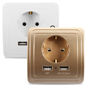 Excellway® 1.5A/2A Dual USB Ports Wall Charger Power Adapter Socket Outlet Panel EU Plug Mount