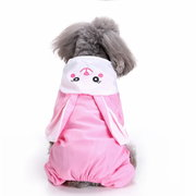 Waterproof Dog Raincoat Cute Rabbit Cartoon Pattern Outdoor Hooded Rain Coat