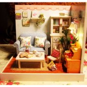 Cuteroom Happy Moment Dollhouse Miniature DIY Kit with Cover Music LED Light