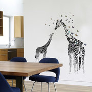 3D Giraffe Colorful Butterfly Wall Sticker Smontabile Home Decor Camera da letto Applique d'arte fai da te