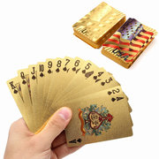 Gold Plastic Coated Playing Cards Poker Game USA National Flag Style Intelligence Game
