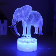 Elephant Model Remote Control Touch Switch 3D Acrylic LED Lamp 7/16 Colors Colorful Light Gift
