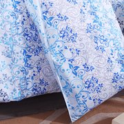 3 ou 4pcs Suit Blue Flowers Reactive Dyeing Polyester Fiber Bedding Sets Twin Full Queen Size