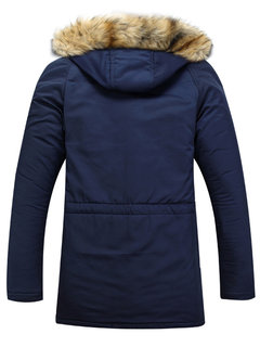 Long Sleeve Thicken Hooded Pockets Winter Cotton Warm Coats