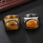 Olho de tigre do vintage pedra mens anéis de dedo de aço titanium presente para homens