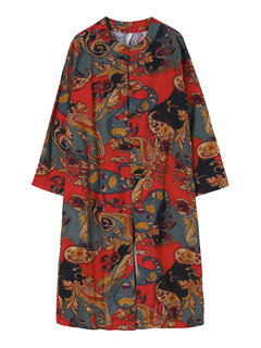 Casual Women Chinese Frog Flower Printed Trench Coat Jacket