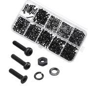 600 piezas de acero al carbono negro 10.9 grado hexagonal tapa botón cabeza plana tornillo tuercas conjunto surtido