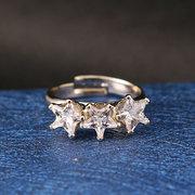 JASSY® Fashion Gold Plated Triplo anel de cinco pontas brilhantes de zircônia ajustável para mulheres