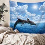 Ocean Animals Series Swimming Dolphin Killer Whale Pattern Wall Hanging Polyester Tapestry
