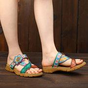 SOCOFY Soft Couro Genuíno Splicing Floral Pintado à Mão Padrão Ajustável Gancho Loop Sandals