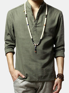 Mens Chinese Style Cotton Linen Long Sleeve T Shirt Fashion Solid Color Casual Tops