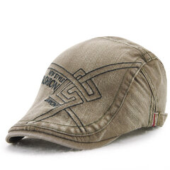 Men Women Cotton Washed Beret Cap Embroidery Duckbill Golf Adjustable Buckle Visor Cabbie Hat