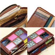 QIANXILU Genuine Leather Patchwork Short Wallets Random Purse Card Holder Coin Bags