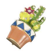 Luxus 18K Gold Anhänger für Kette Keramik Kaktus Broschen Strass Pins Geschenk für Frauen