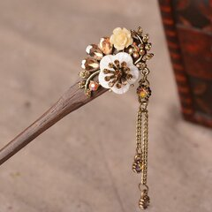 Vintage Wood Hairpins Elegant Shell Diamond Flower Tassel Pendant Womens Hairpins Hair Accessories
