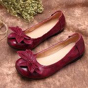 SOCOFY Retro Handmade Flower Splicing Soft Flat Leather Shoes