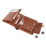 RFID Antimagnetic Genuine Leather Multi-slot Coin Pocket Trifold Wallet For Men
