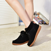 Fur Lining Lace Up Flat Boots For Women