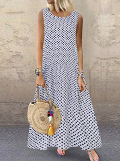 Casual Polka Dot Print Sleeveless Plus Size Dress with Pockets
